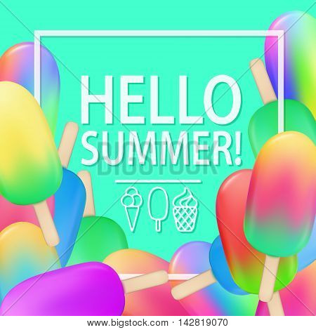 Ice Cream Cold Juice Gelato Hello Summer Poster Blue