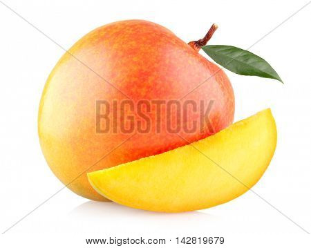 Mango with a slice isolated on white background