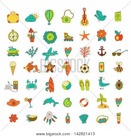 Summer set icons, summer beach hand drawn vector elements and objects, travel vacation doodle objects