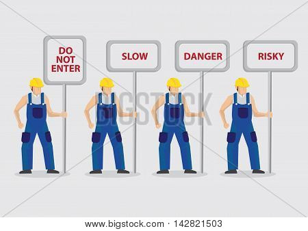 Set of four vector illustrations of construction worker character carrying sign posts with warning messages isolated on plain background.