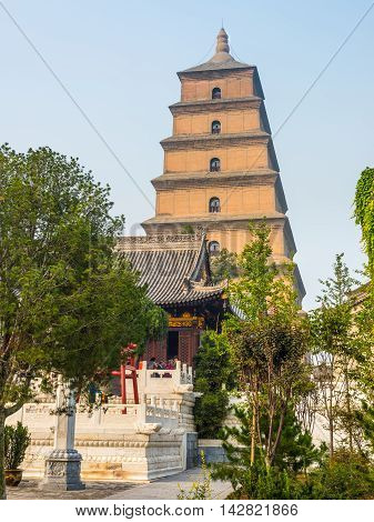 Xian China - October 17 2013: Giant Wild Goose Pagoda or Big Wild Goose Pagoda is a Buddhist pagoda in Xian Shaanxi Province China.