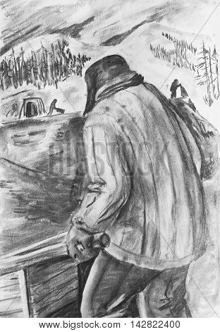 Charcoal drawing on paper. The man with the wheelbarrow on mine