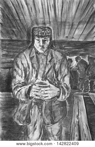 Charcoal drawing on paper. A man with a mug of tea in the barracks