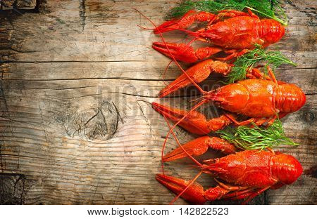 Crayfish. Red boiled crawfishes on a wooden table in rustic style, close-up. Lobster closeup. Border design