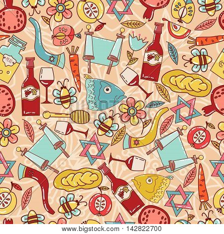 Seamless pattern with the Jewish New Year holiday symbols. Honey apples pomegranate chauffeur bread.