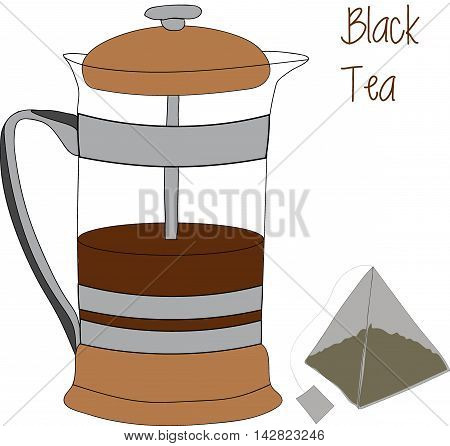 French press - a simple device for brewing tea and coffee. Outline sketch with color and shading in separate layers isolated on white background. EPS10 vector illustration.