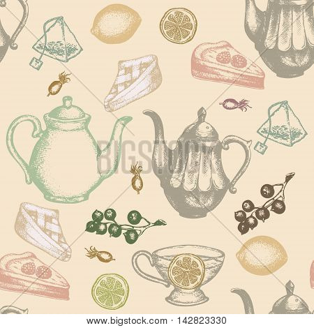 Tea seamless pattern vector set tea party