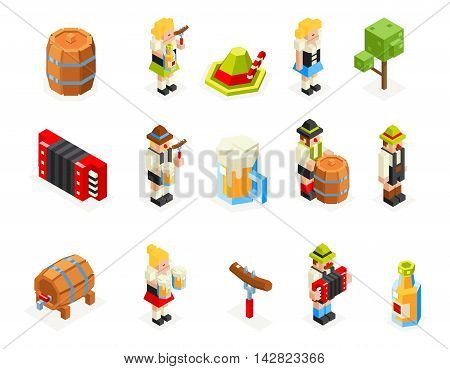 oktoberfest isometric polygon icons set beer keg man woman accordion cap sausage fork glass vector illustration