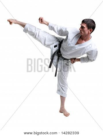 Karate. Man In A Kimono Hits Foot