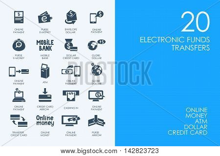 BLUE HAMSTER Library electronic funds transfers vector set of modern simple icons