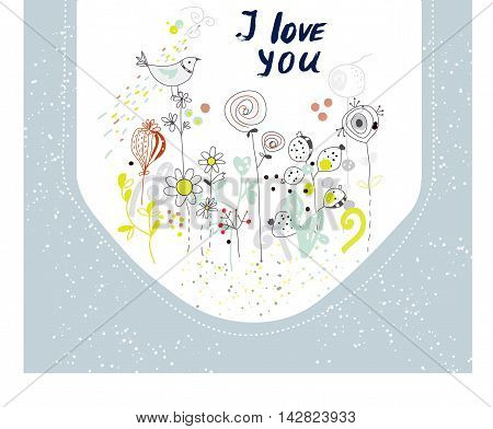 I love you card with flowers and birds nice hand drawn design vector illustration