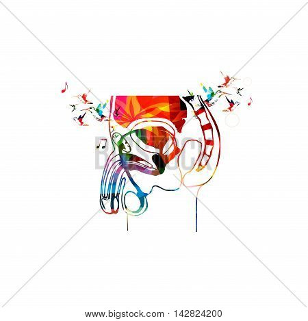 Vector illustration of colorful male reproductive system collected from various elements of flower ornament and decorated with hummingbirds