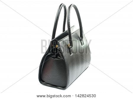 female black bag fashionable on a white background