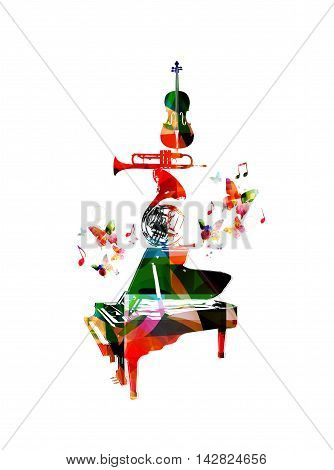 Vector illustration for music inspires concept combining set of music instruments, piano, french horn, trumpet and violoncello, collected from flower ornament elements and decorated with butterflies.