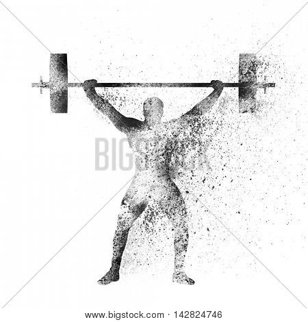 Weight Lifter lifting heavy weight on white background, Creative vector illustration made by abstract splash for Sports concept.