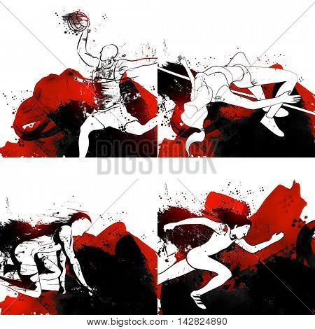 Set of Sports Poster, Banner or Flyer design with illustration of Runner, Basketball Player and High Jump Player, Creative Abstract background with brush strokes.