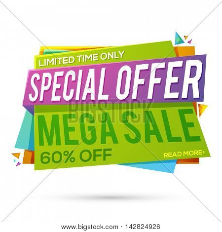 Mega Sale with Special Discount Offer, Upto 60% Off for limited time, Creative colorful Paper Tag or Banner design on white background.