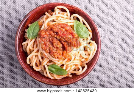 Small Portion Of Cooked Spaghetti With Tomato Seasoning