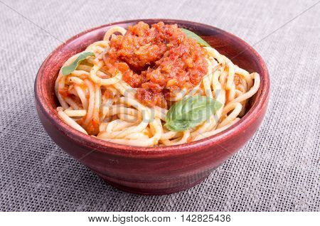 View Close-up On A Small Portion Of Cooked Spaghetti