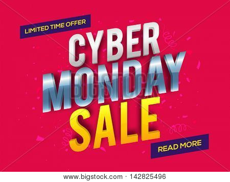 Creative 3D Text Cyber Monday Sale on shiny background, Can be used as Poster, Banner or Flyer design.