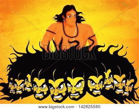 Creative illustration of Lord Rama and Angry Ravana with ten heads on shiny yellow background for Indian Festival, Happy Dussehra celebration.