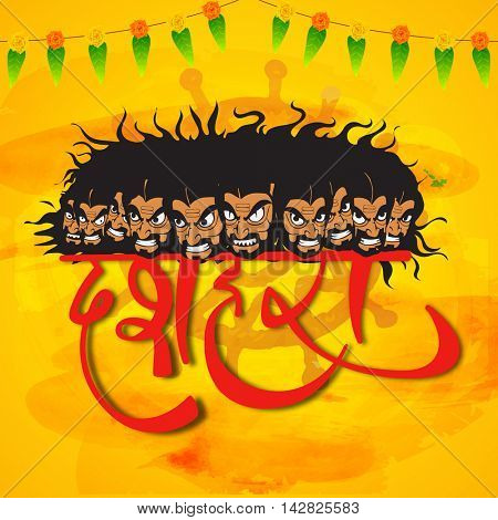 Creative illustration of Angry Ravana with ten heads and Stylish Text Dussehra in Hindi on abstract yellow background, Can be used as Poster, Banner or Flyer design.
