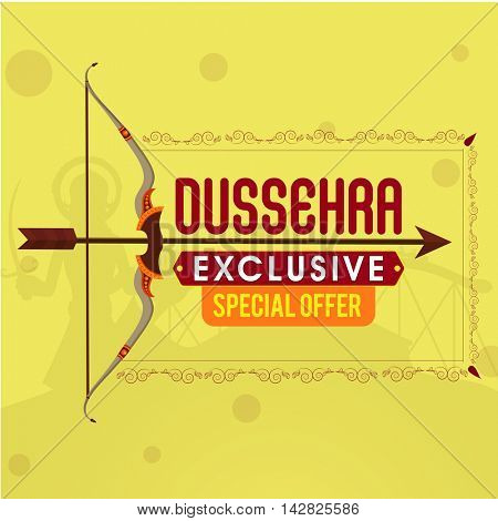 Dussehra Exclusive Offer Sale background with creative bow and arrow, Can be used as Poster, Banner or Flyer design.