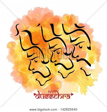 Happy Dussehra background with Ravana Face and watercolor splash, Can be used as Poster, Banner or Flyer design.