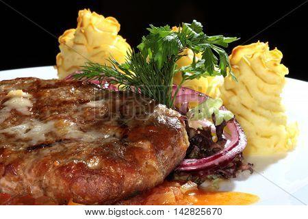 Steak With Potato Gratin