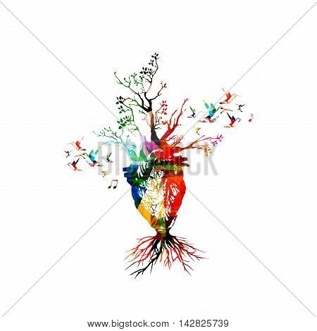Vector illustration for healthy lifestyle concept combining colorful human heart with growing trees, collected from flower ornament elements and decorated with hummingbirds. Imaginative tree heart
