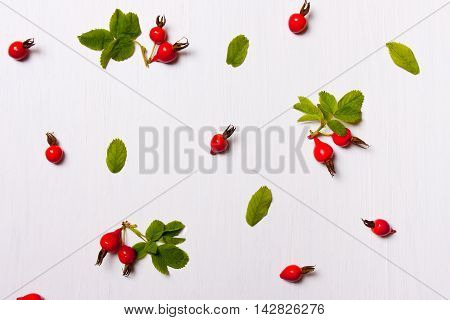 The pattern composition of rose hips berries and leaves on a white background. Flat lay overhead view