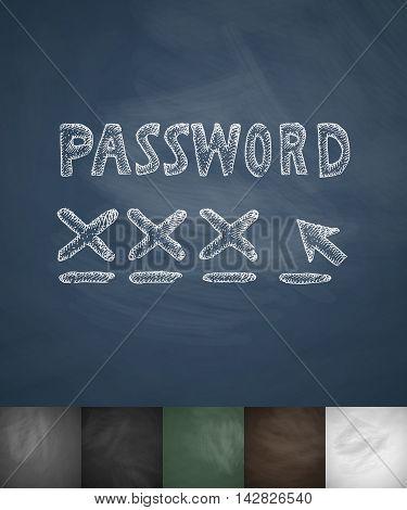 password icon. Hand drawn vector illustration. Chalkboard Design