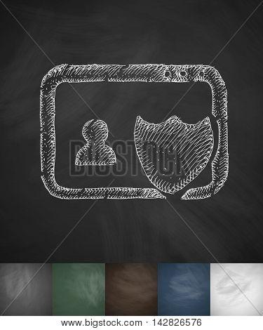 protection icon. Hand drawn vector illustration. Chalkboard Design