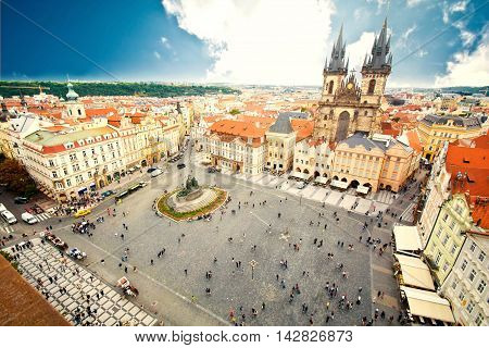 Monuments of Prague. Old Town with Tyn Church and Jan Hus Memorial on square.