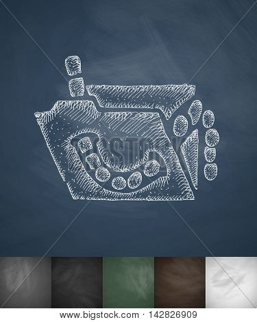 computer virus icon. Hand drawn vector illustration. Chalkboard Design
