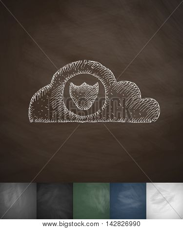 cloud protection icon. Hand drawn vector illustration. Chalkboard Design