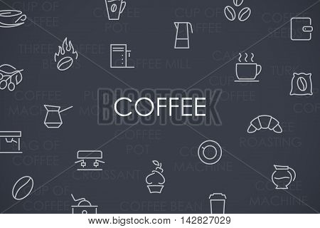 Thin Stroke Line Icons of Coffee on White Background