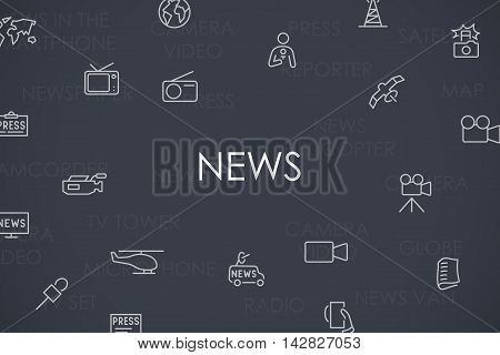 Thin Stroke Line Icons of News on White Background