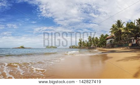 Sandy Beach with Palm Trees near Beruwala, Sri Lanka