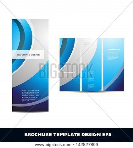 Blue silver grey vector brochure layout design template tri folded