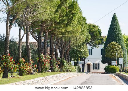 Desenzano del Garda Italy - May 07 2016: The way the factory for the production of wine Ca Maiol located in a North Italy