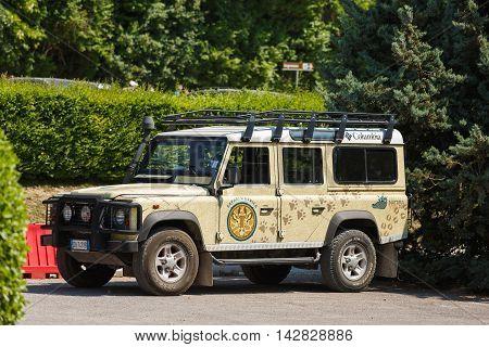 Verona Italy - May 07 2016: Painted car Land Rover in the parking lot at the Park Natura Viva