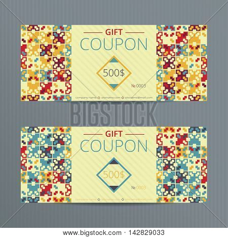 Vector illustration of gift voucher template collection. Voucher tickets. Set of vector coupon templates.