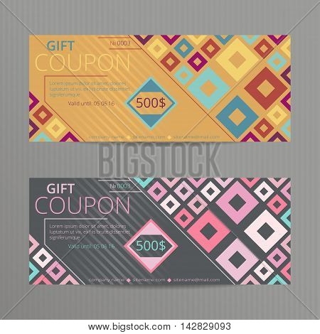 Gift voucher with bright geometric design. Vector template for coupon with colorful squares.