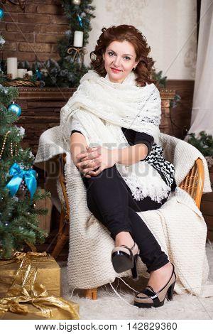 Attractive Woman In White Shawl
