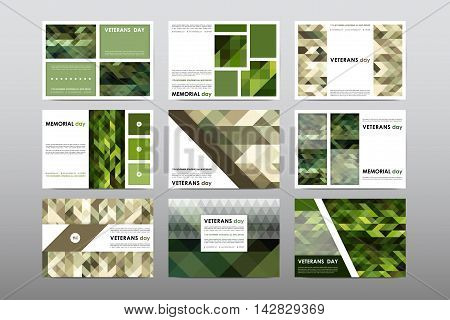 Set of Veterans Day brochure, poster templates in khaki style. Beautiful design and layout. Leaflet cover presentation abstract background
