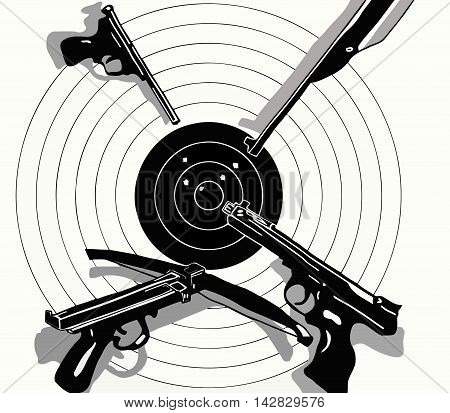 vector illustration black and white target holes and gun on the target, crossbow, pistol, rifle,