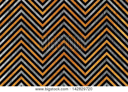 Golden And Silver Stripes Background, Chevron.