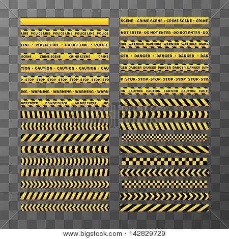 Big set of different seamless yellow and black caution tapes on transparent background
