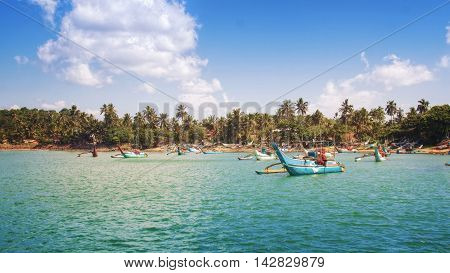 Traditional Sri Lankan Fishing Boats near Mirissa, Sri Lanka